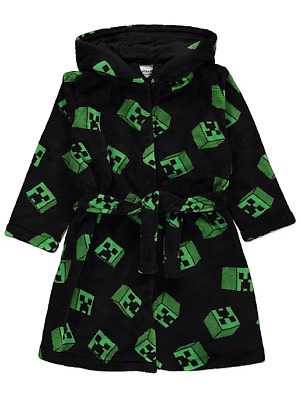 Boys Mojang Minecraft Creeper Hooded Dressing Gown Soft Fleece Robe Ages 4-14