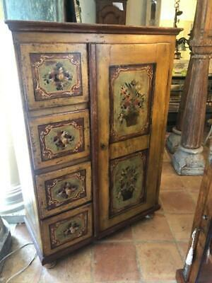 Hand Painted Antique Armoire with Door and Drawers. French Country Style