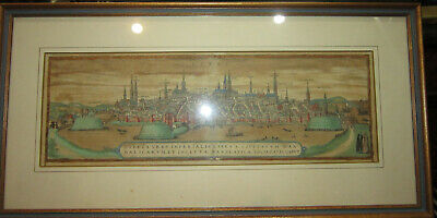 Original 1572 copper engraving map of Lubeck, Germany by Georg Braun + COA