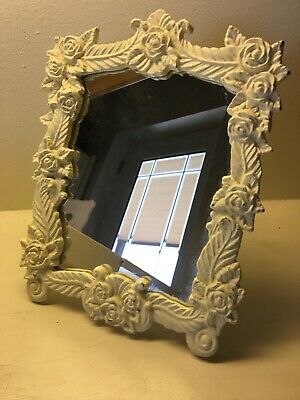 Antique Victorian Heavy Cast Iron Ivory Standing Mirror Picture Frame 8x 9.5