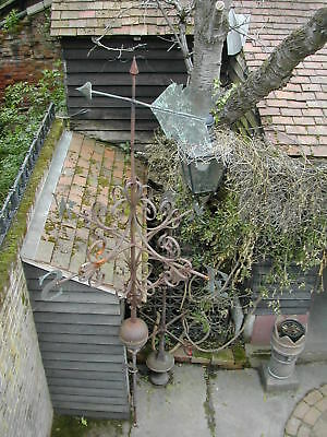 Victorian wrought iron weather vane. 11 ft tall, 5 ft in diameter. Brass letters