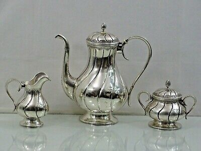 LATVIAN SILVER TEA / COFFEE SET 1922 - 1939 Baltic Latvia Riga Sterling Russian