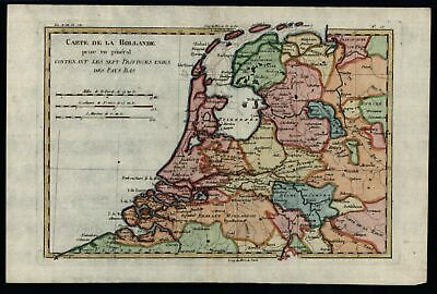 United Provinces Netherlands Holland Nederland 1780 Bonne map w/ fine hand color