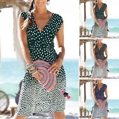 Women Summer Casual Sexy Boho Printed V-neck Dress Loose Holiday A-line Party