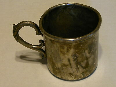 Antique Rogers Quadruple Silver Plated Baby Cup. Tarnished w/a dent, no cracks