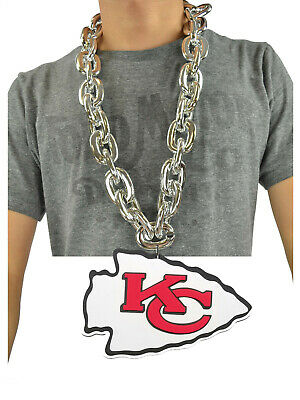 New NFL Kansas City Chiefs Silver Jumbo Big Chain Necklace Foam Made in USA