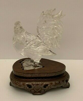 Antique Chinese Carved Rock Crystal Rooster Sculpture on Wood Base