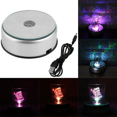7-LED Colorful Rotating Electric Light Stand Crystal Round Display Base New 2019