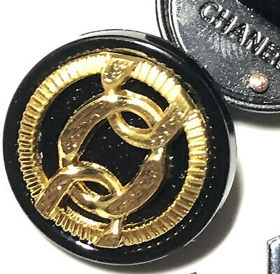 Chanel Button CC Vintage Black Gold 20mm Metal 3/4 Inch STAMPED : RARE