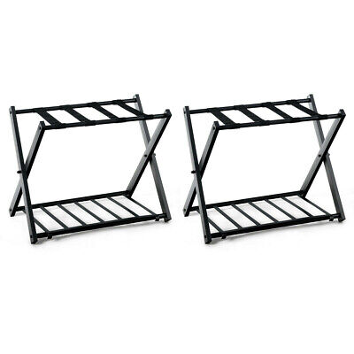 Set of 2 Folding Metal Luggage Rack Suitcase With Shelf Luggage Accessories US