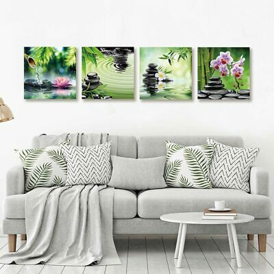 Zen Stones and Flowers Home Canvas Print Decorative Poster 4 Canvas No Frame