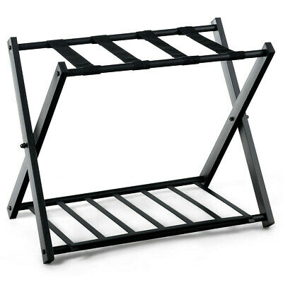 Folding Metal Luggage Rack Suitcase with Shelf Black Luggage Accessories 9 lbs