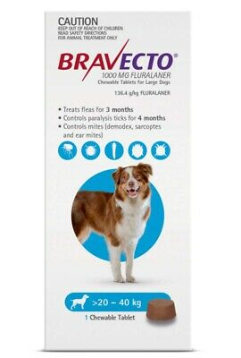 BRAVECTO Chewable Tablet for Large Dogs 20-40kg 1 chew