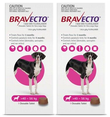 BRAVECTO Chewable Tablet for Extra Large Dogs 40-56kg 1 chew x 2pk