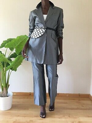 Bay Ladies Grey Suit Two Piece Jacket Trousers Size 12-14 Work Long Collared B