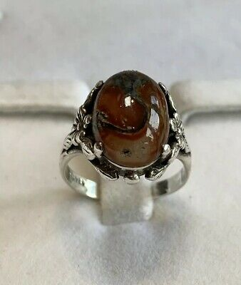 Antique Victorian 925 Sterling Silver Ring With Beautidul Agate Gem Stone Size O