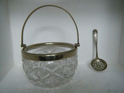 Vintage Cut Glass Sugar Bowl / silver Plated EPNS with spoon