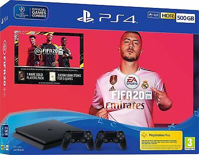 Sony PS4 500GB Console, FIFA 20 & 2 Controller Bundle - NEW & SEALED