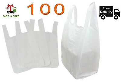 100 Plastic Carrier Bags White Small Medium Extra Large Fast & Free Delivery