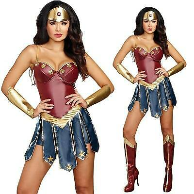 Wonder Woman Adult Fancy Dress Superhero Cospaly Party Costume Ladies Outfits UK