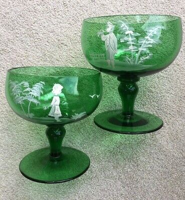 Lovely Pr Antique Victorian Mary Gregory Hand Painted Green Glass Pedestal Bowls