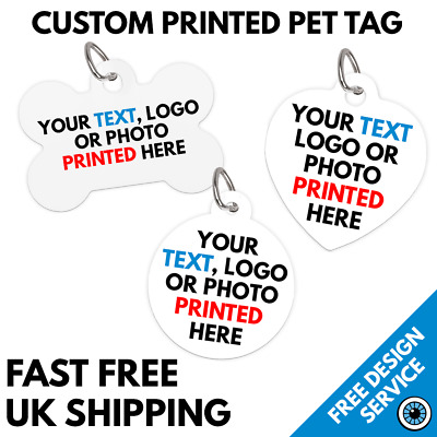 Custom Printed Pet Tags • Bespoke Personalised Cat Dog Tag • Text Photo Image