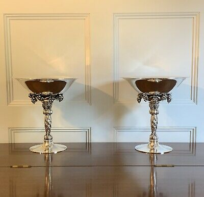 Authentic Large Pair Georg Jensen 264A  Sterling Silver Compotes Denmark