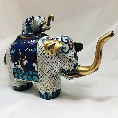 Vintage Chinese Cloisonne' Brass Elephant Trinket Ring Pill Box Mom Baby - Blue