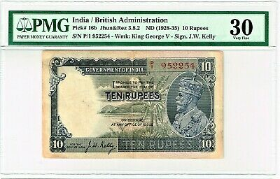 India: 10 Rupees ND (1928-35) Pick 16b Jhun3.8.2 PMG Very Fine 30.