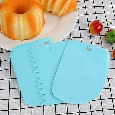 Cake CREAM smoothing 3 PIECES Smoother Scraper smooth Comb Baking cutting Tool