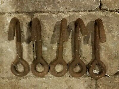 Antique Primitive Cast Iron Rigging Hooks Industrial Hooks