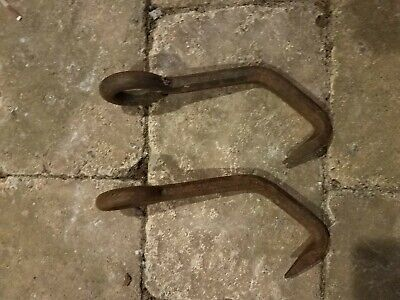 Antique Primitive Cast Iron Rigging Hooks Industrial Hooks  lot of 2