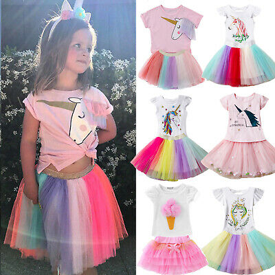 Infant Girls Kids Unicorn Dress Outfit Tshirt Top Tulle Tutu Skirt Party Clothes