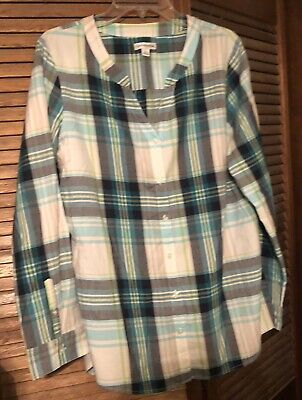 croft and barrow Long Sleeve Button Down Shirt-womens Large