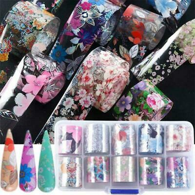 Holographic Decor Nail Art Decals Flower Transfer Foil Manicure Stickers