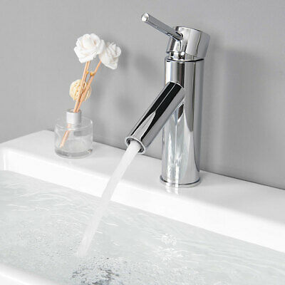 Single Hole Bathroom Round Faucet Cold & Hot Water for Under Mount Sink Chrome