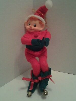 "Christmas Elf doll ornament  Blue eyes Red hair, 9"" shelf setter"