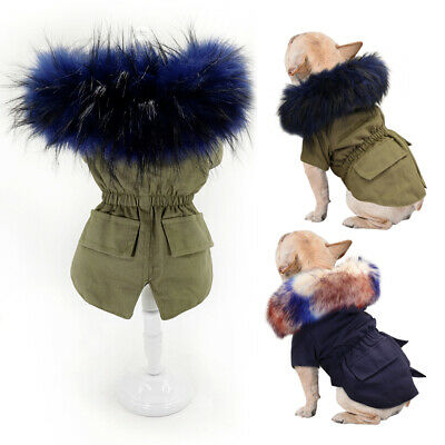 Fashion Fur Collar Dog Winter Coat Pet Dog Clothes Small Jacket Jack Russell Pug