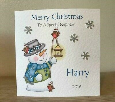 Grandson,Niece Snowman and Father Christmas Xmas Card.Personalised,Son,Daughter