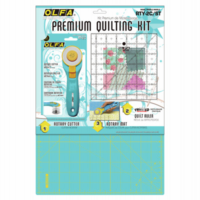 Olfa Patchwork Starter Set Aqua Cutting Mat, 45mm Rotary Cutter, Ruler