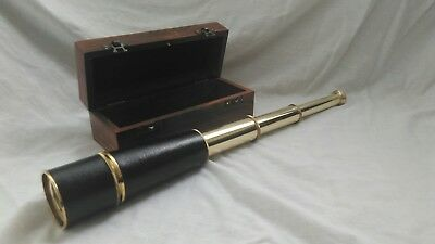 BRASS THREE DRAW TELESCOPE. ANTIQUE   STYLE WITH WOODEN BOX .45cm  New.