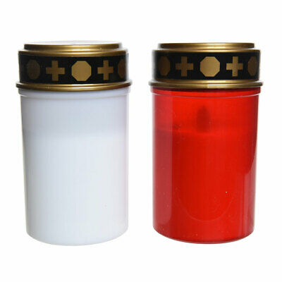 LED Grave Memorial Candles & Gold Top, Memory Light Tribute Funeral Red & White