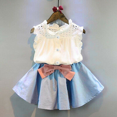 2PCS Toddler Kids Baby Girl Dress Outfits Tops Shirt+Bow Short Skirt Clothes Set