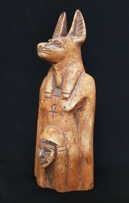 Fabulous Anubis Bust Mummy Statue Egyptian Antique Stone Craft W/T Shabti Figure