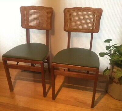 Pair of 2 Stakmore Mid Century Wood Folding Chairs Caned Cane Back Green