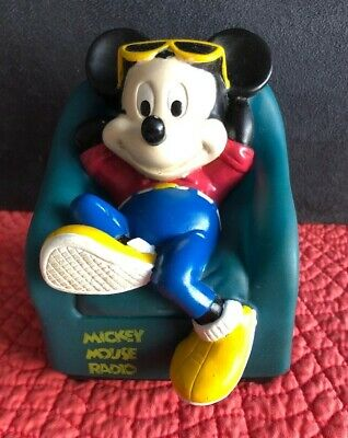 """Vintage Mickey Mouse AM Radio, Works, 9 V Battery Not Included, 4"""" X 4.5"""" X 5"""""""