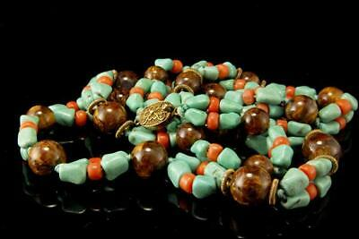 Old Chinese Green Turquoise Coral Tiger Eye Beads Silver Necklace D119-02