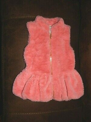 Little Lass Toddler Girls Vest Coral Pink Faux Fur  Size 4  Super Condition