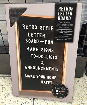 Framed Letter Board Retro Style Personalised Memo Peg Board Silver New Autumn