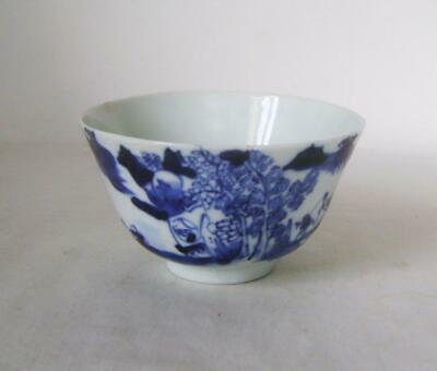Chinese Blue & White Porcelain Bowl: Landscape with Figures, C19th  A/F